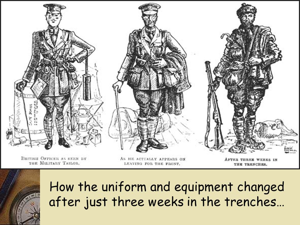 How the uniform and equipment changed after just three weeks in the trenches…