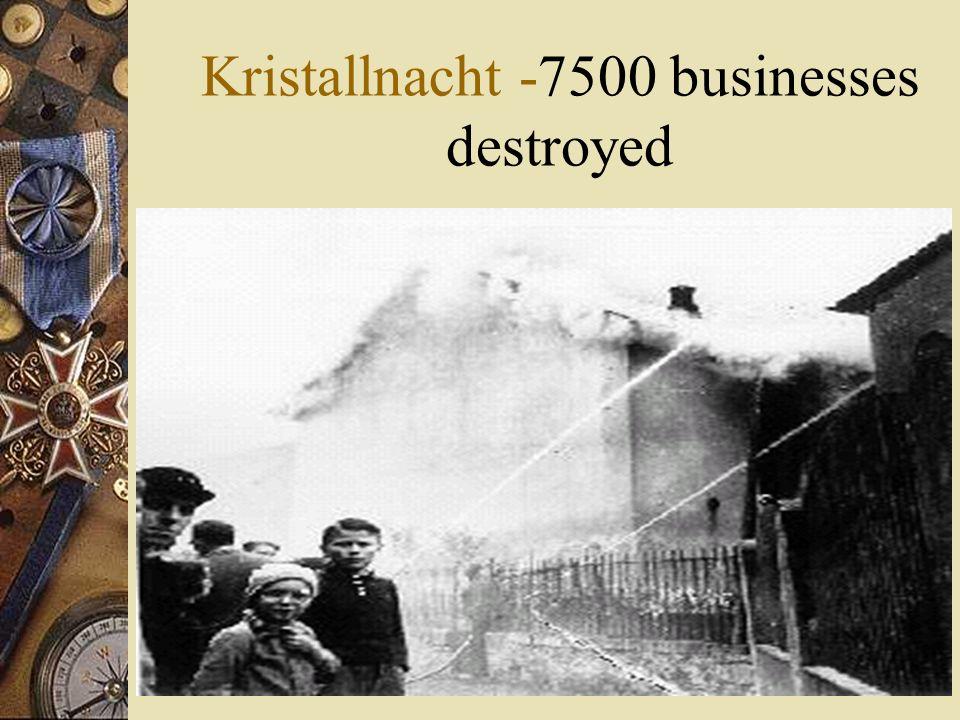 Kristallnacht -7500 businesses destroyed
