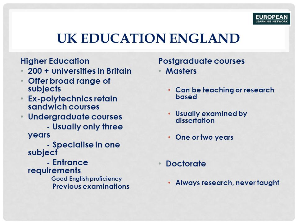 UK Education England Higher Education 200 + universities in Britain