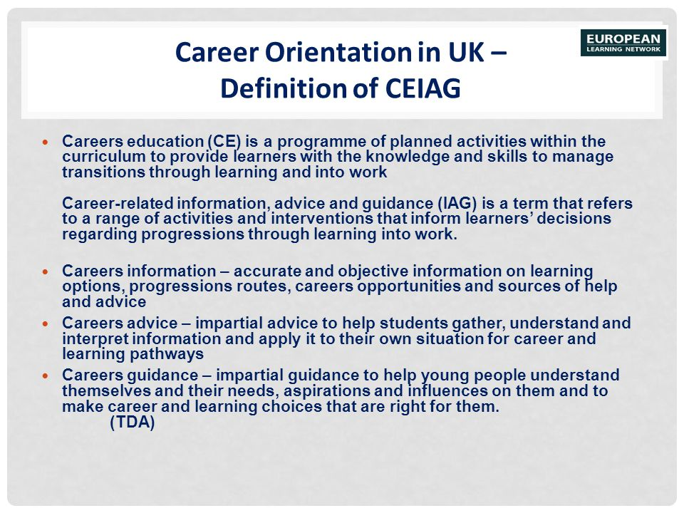 Career Orientation in UK – Definition of CEIAG