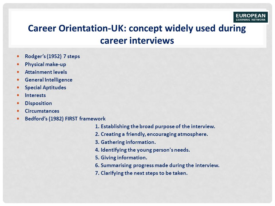Career Orientation-UK: concept widely used during career interviews