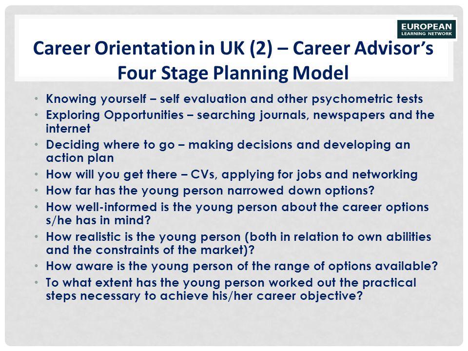 Career Orientation in UK (2) – Career Advisor's Four Stage Planning Model