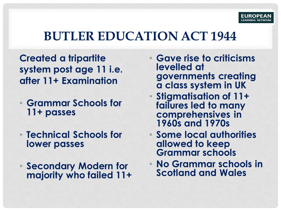 Butler Education Act 1944 Created a tripartite system post age 11 i.e.