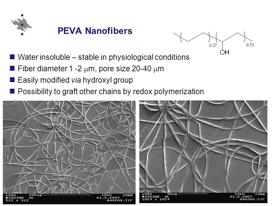 PEVA Nanofibers Water insoluble – stable in physiological conditions