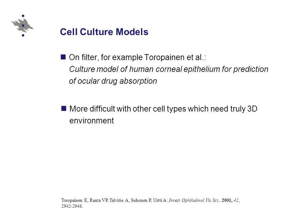 Cell Culture Models On filter, for example Toropainen et al.: