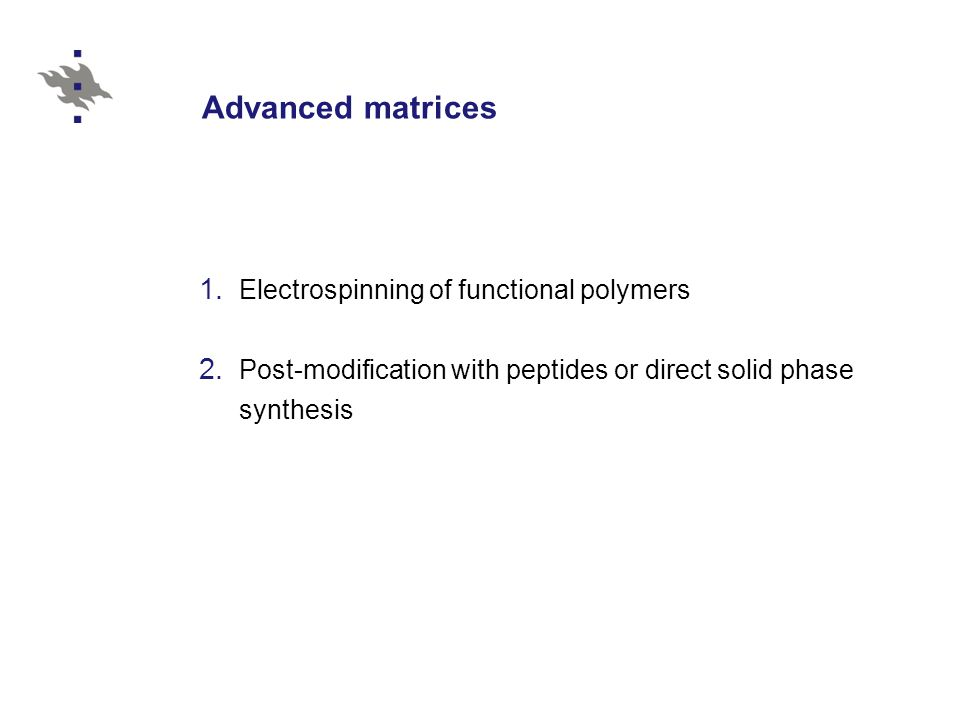 Advanced matrices Electrospinning of functional polymers