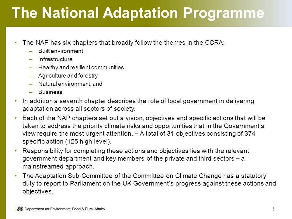 The National Adaptation Programme