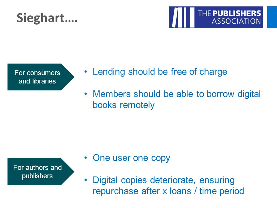 Sieghart…. Lending should be free of charge