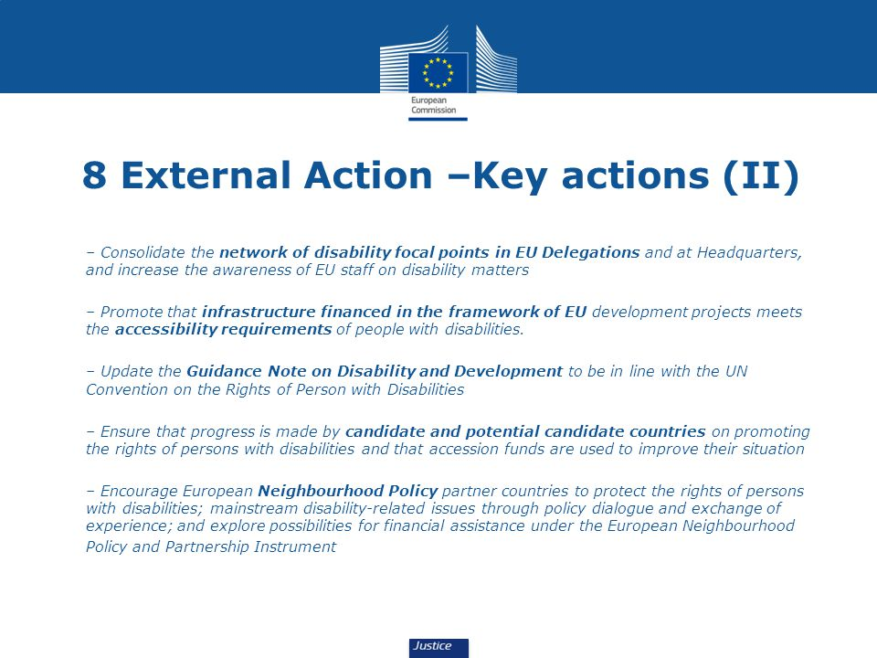 8 External Action –Key actions (II)