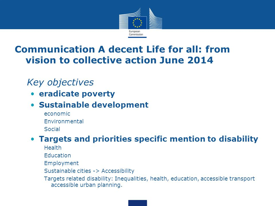 Communication A decent Life for all: from vision to collective action June 2014