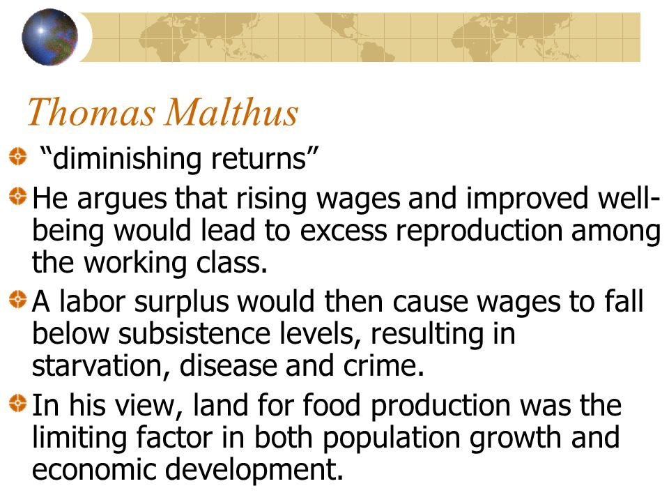 Thomas Malthus diminishing returns