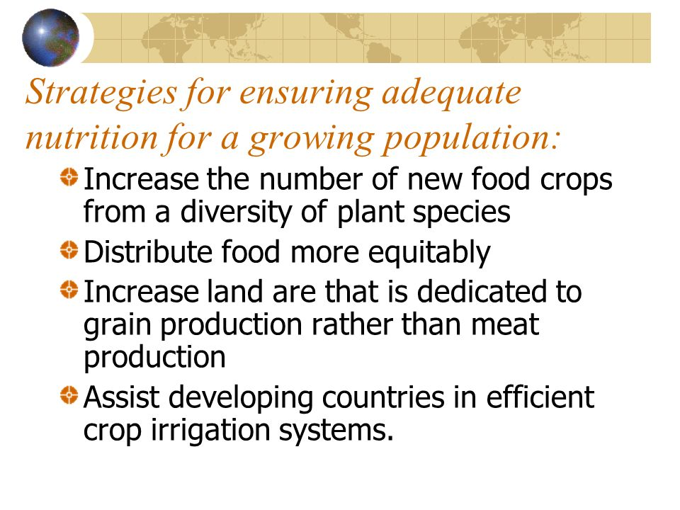 Strategies for ensuring adequate nutrition for a growing population: