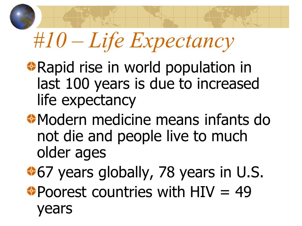 #10 – Life ExpectancyRapid rise in world population in last 100 years is due to increased life expectancy.