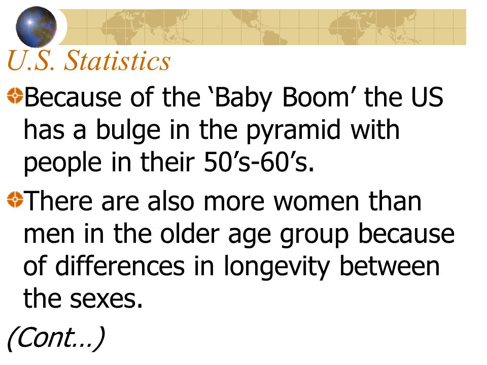 U.S. StatisticsBecause of the 'Baby Boom' the US has a bulge in the pyramid with people in their 50's-60's.