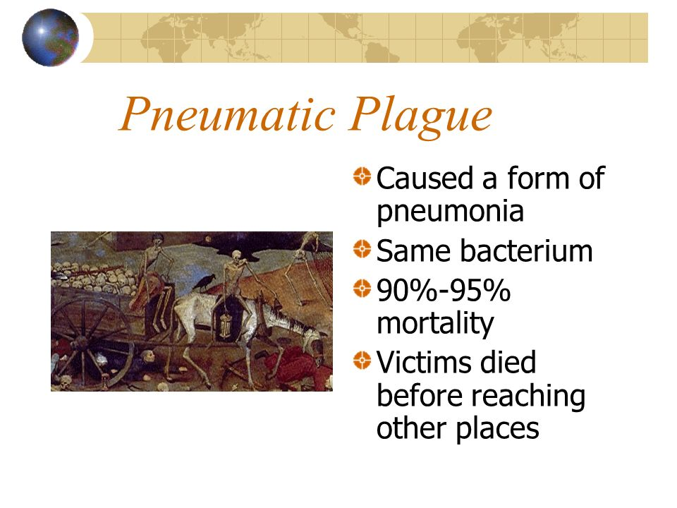 Pneumatic Plague Caused a form of pneumonia Same bacterium