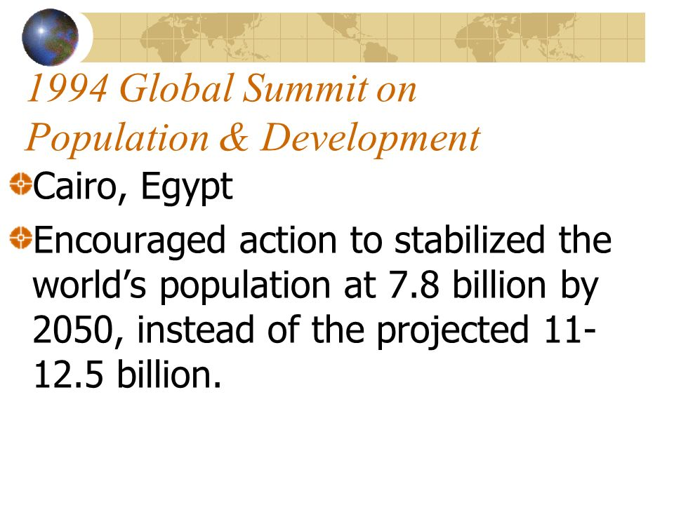 1994 Global Summit on Population & Development