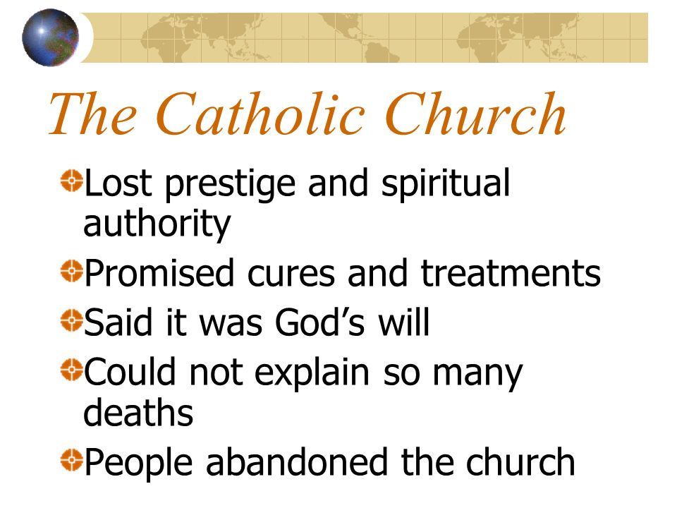 The Catholic Church Lost prestige and spiritual authority