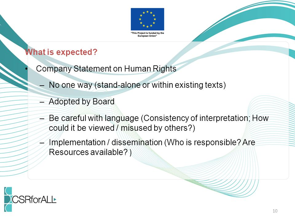 What is expected Company Statement on Human Rights. No one way (stand-alone or within existing texts)