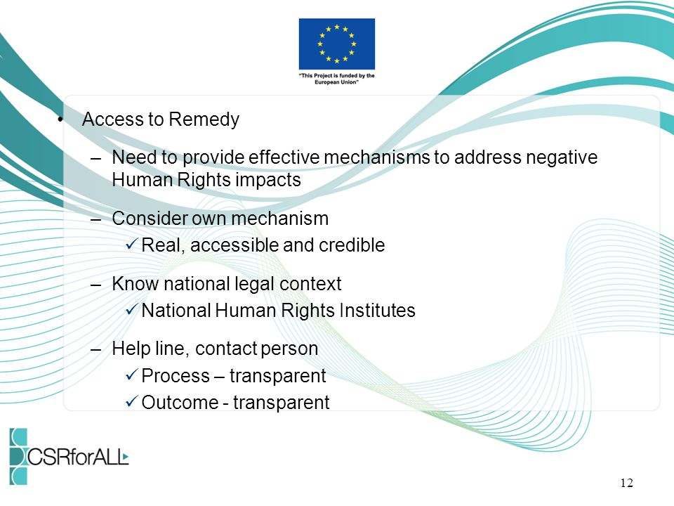 Access to Remedy Need to provide effective mechanisms to address negative Human Rights impacts. Consider own mechanism.