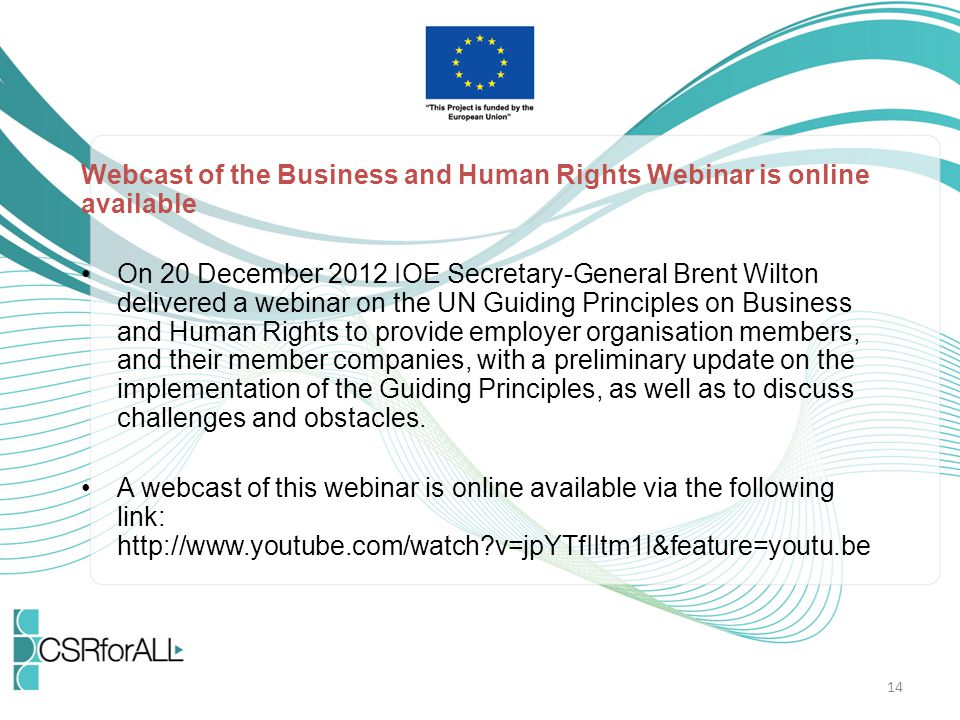 Webcast of the Business and Human Rights Webinar is online available
