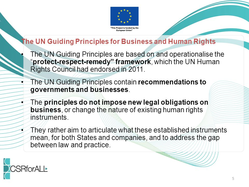 The UN Guiding Principles for Business and Human Rights