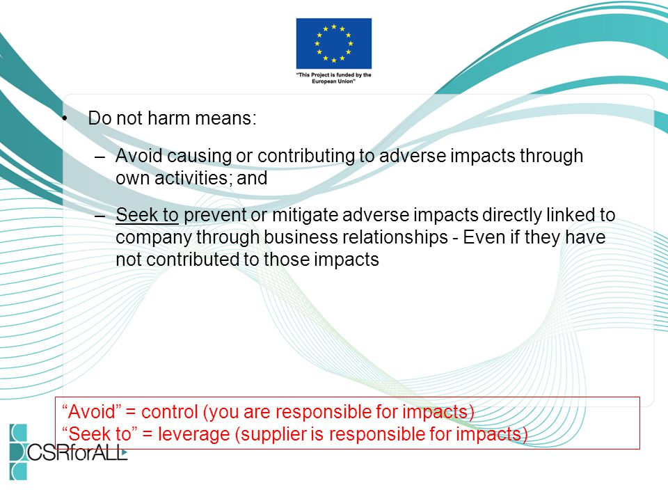 Do not harm means: Avoid causing or contributing to adverse impacts through own activities; and.