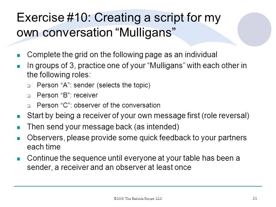 Exercise #10: Creating a script for my own conversation Mulligans