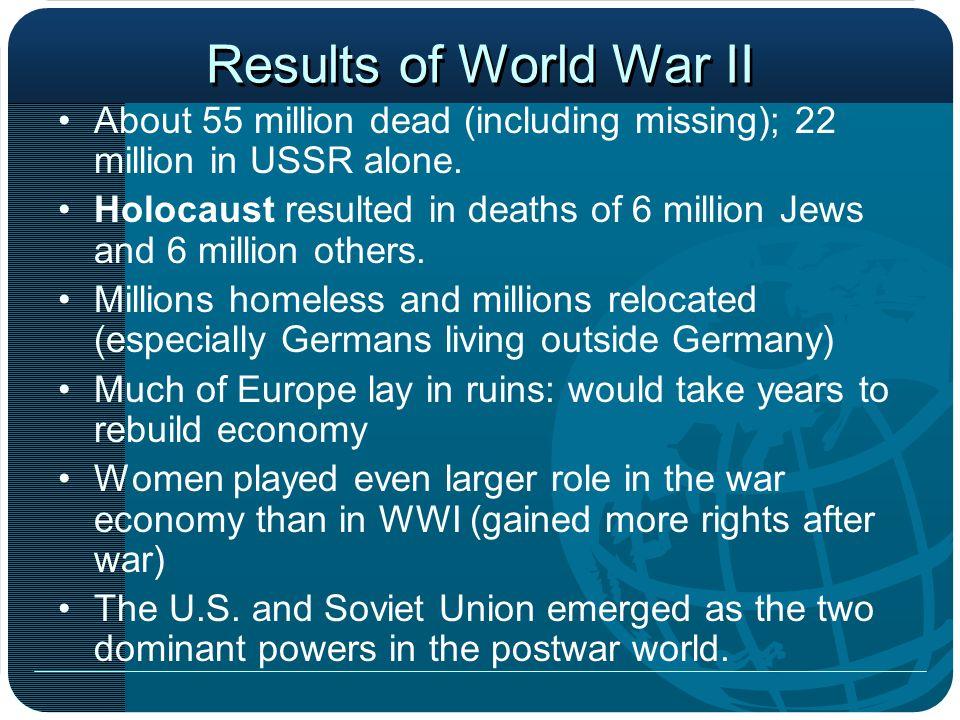 Results of World War II About 55 million dead (including missing); 22 million in USSR alone.