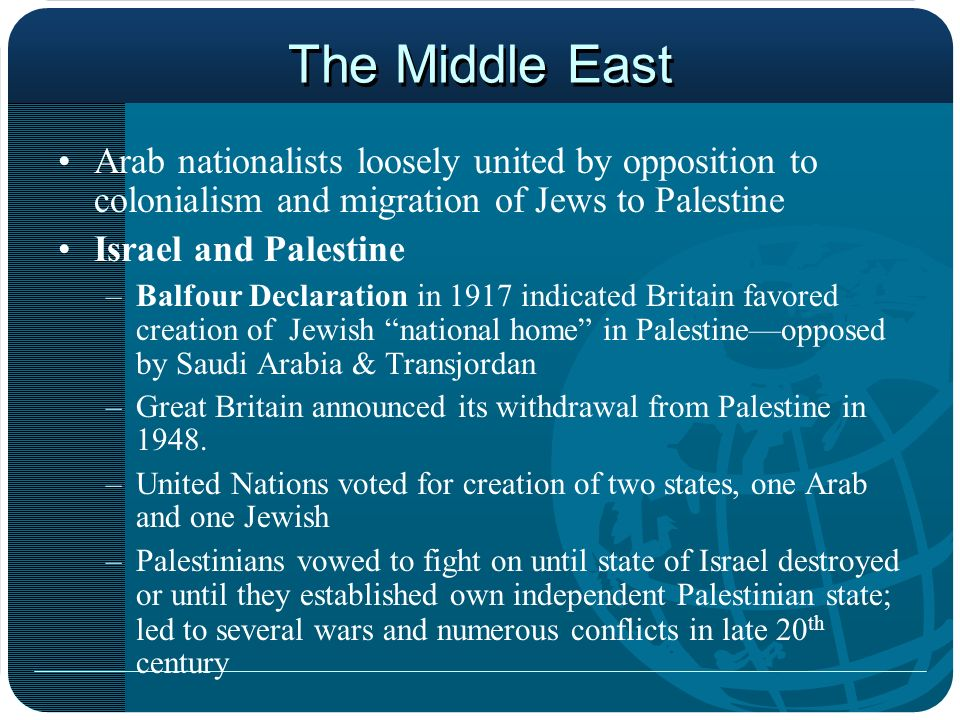 The Middle East Arab nationalists loosely united by opposition to colonialism and migration of Jews to Palestine.