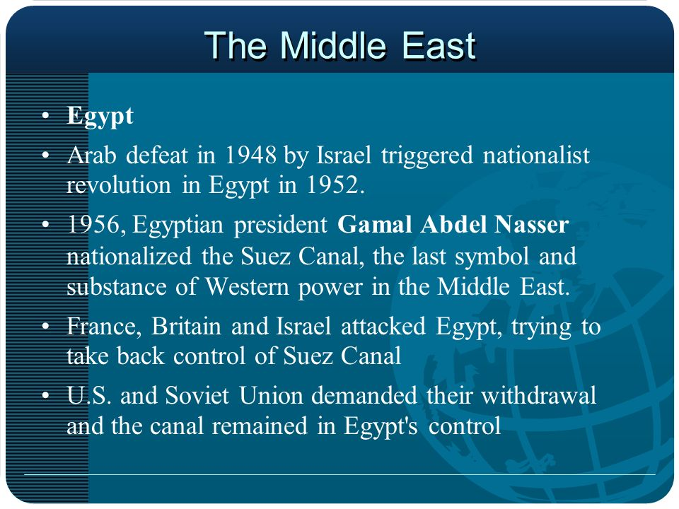 The Middle East Egypt. Arab defeat in 1948 by Israel triggered nationalist revolution in Egypt in 1952.