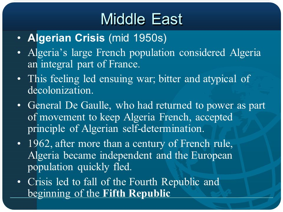 Middle East Algerian Crisis (mid 1950s)