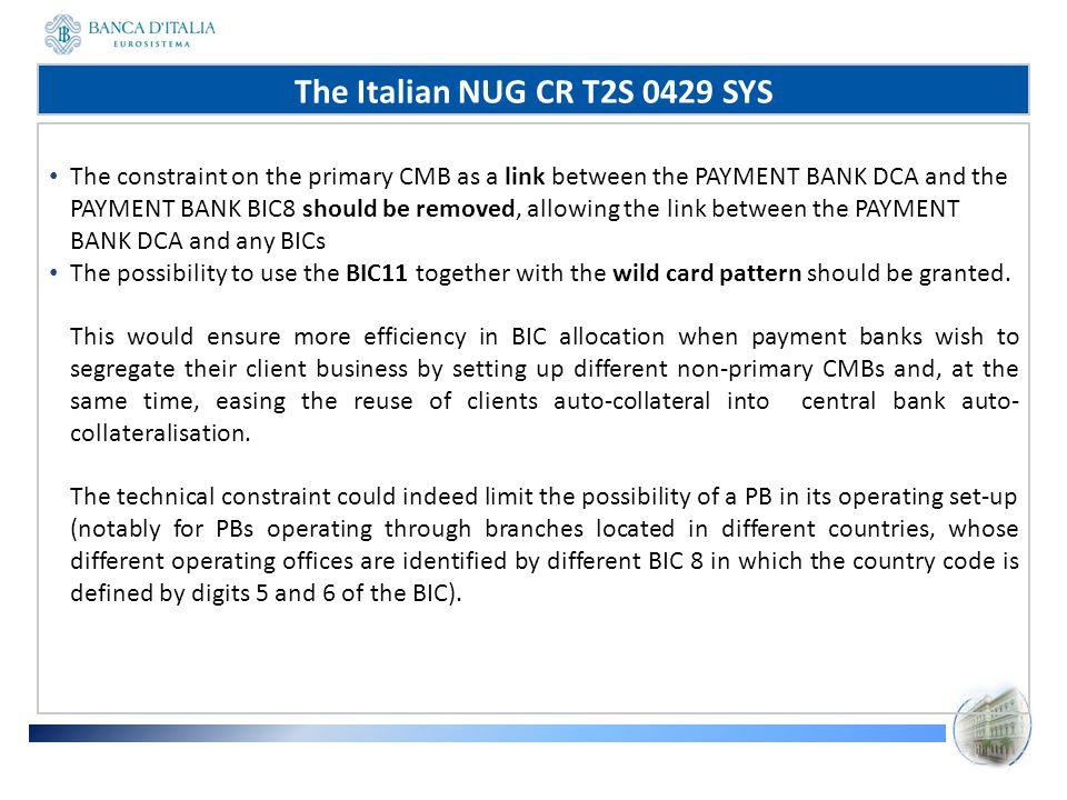 The Italian NUG CR T2S 0429 SYS