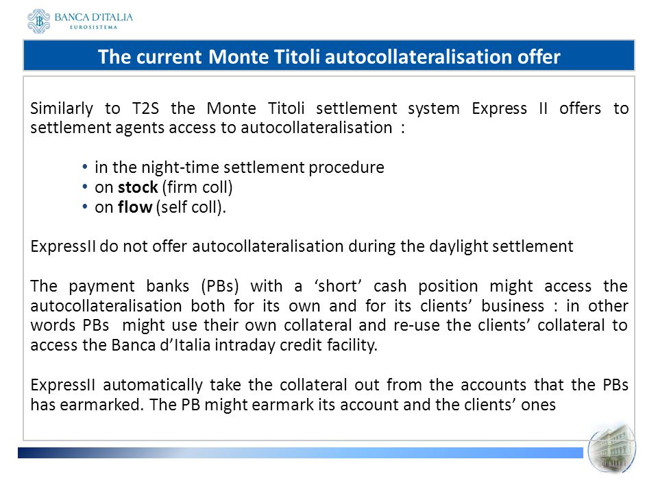 The current Monte Titoli autocollateralisation offer