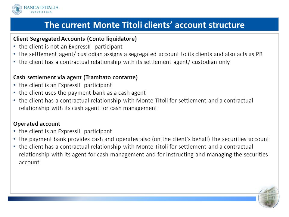 The current Monte Titoli clients' account structure