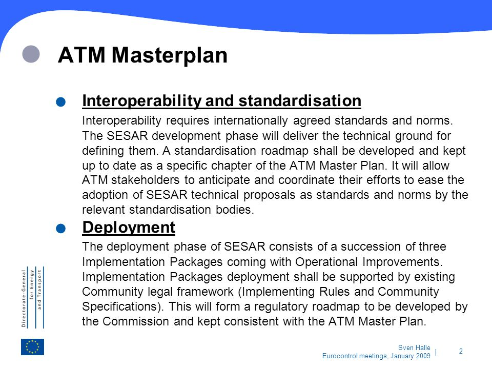 ATM Masterplan Interoperability and standardisation Deployment