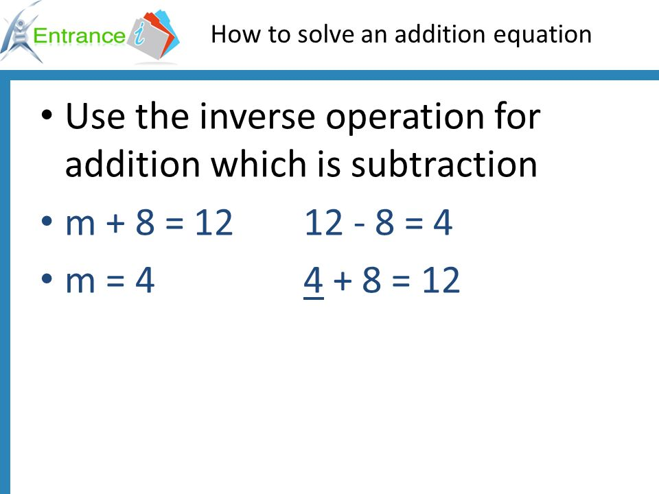 How to solve an addition equation