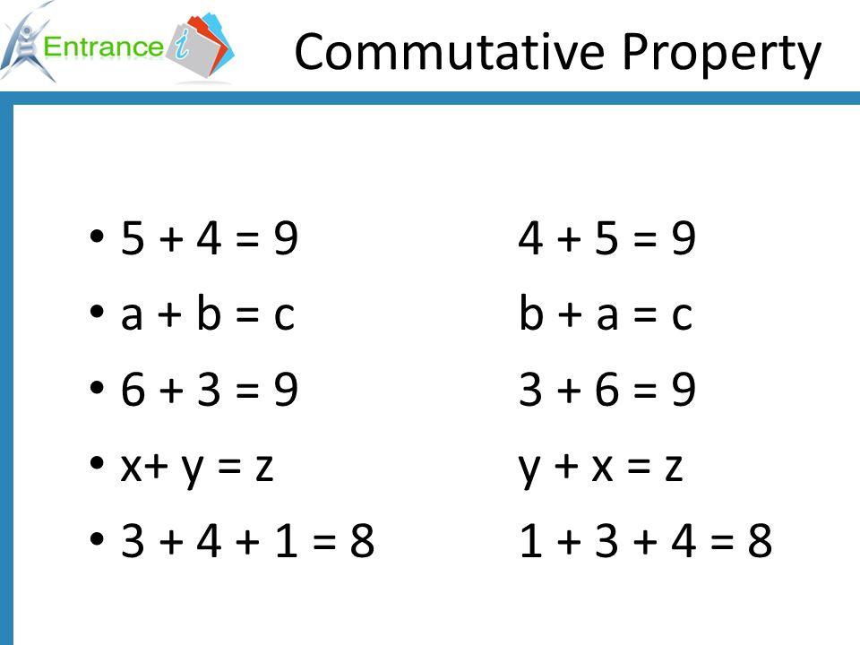 Commutative Property 5 + 4 = 9 4 + 5 = 9 a + b = c b + a = c