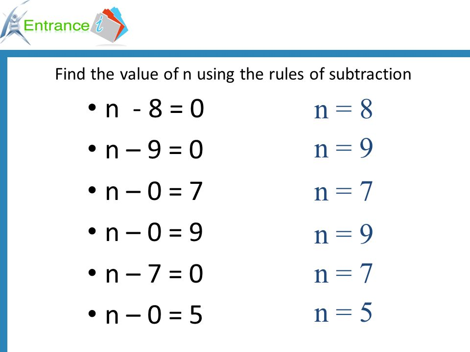 Find the value of n using the rules of subtraction