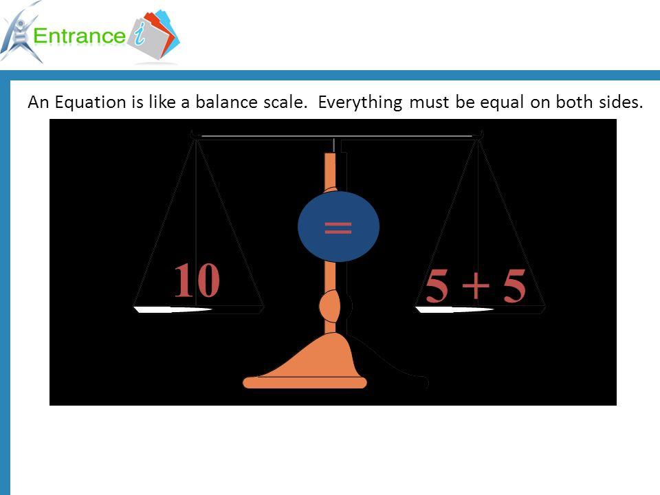 An Equation is like a balance scale