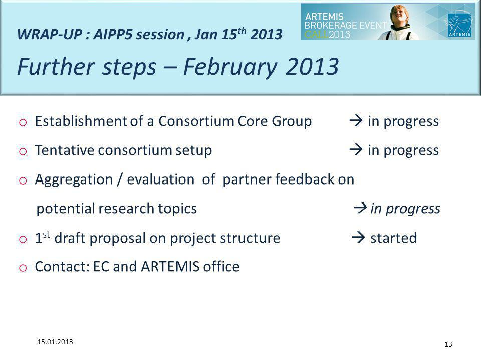 Further steps – February 2013
