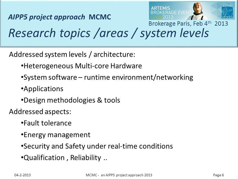 MCMC - an AIPP5 project approach 2013