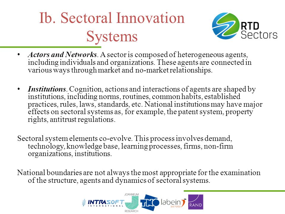 Ib. Sectoral Innovation Systems
