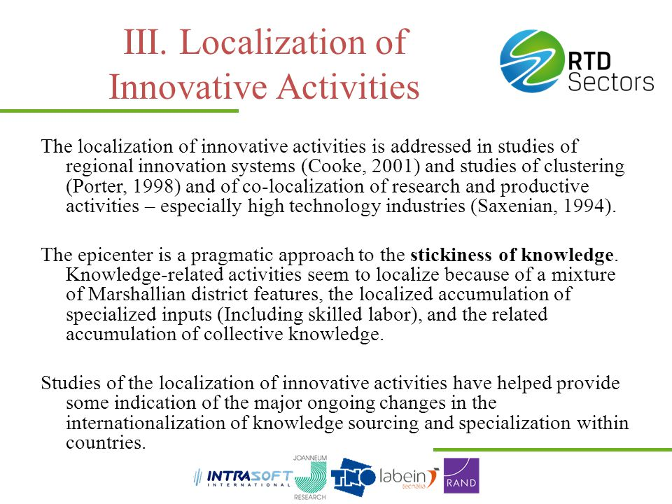 III. Localization of Innovative Activities