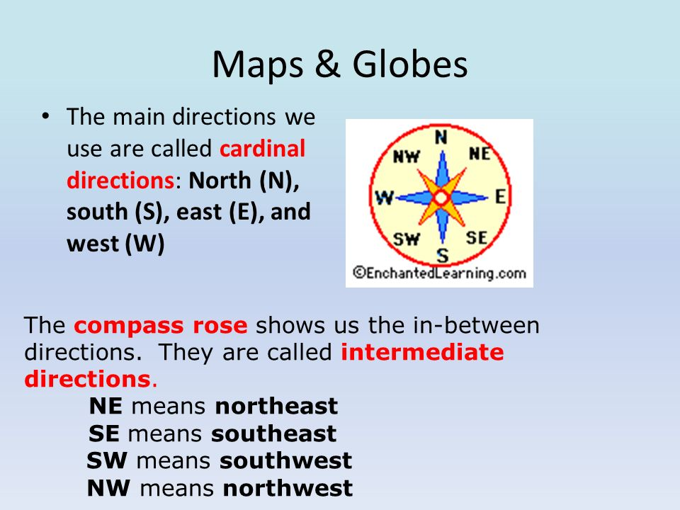 Maps & Globes The main directions we use are called cardinal directions: North (N), south (S), east (E), and west (W)