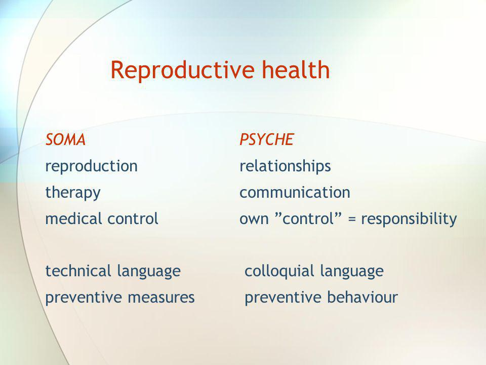 Reproductive health SOMA PSYCHE reproduction relationships