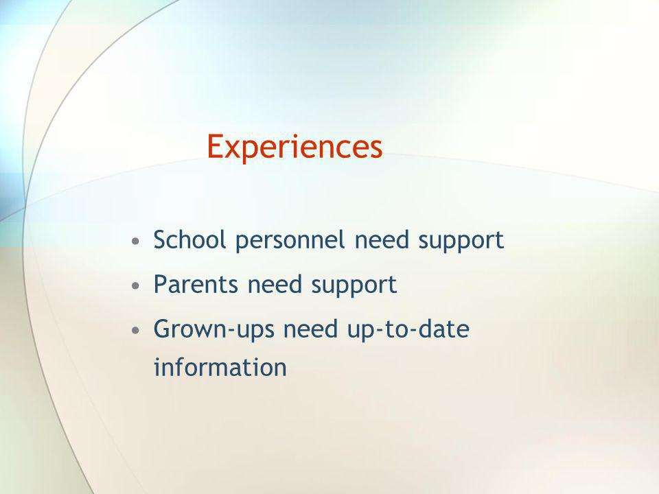 Experiences School personnel need support Parents need support