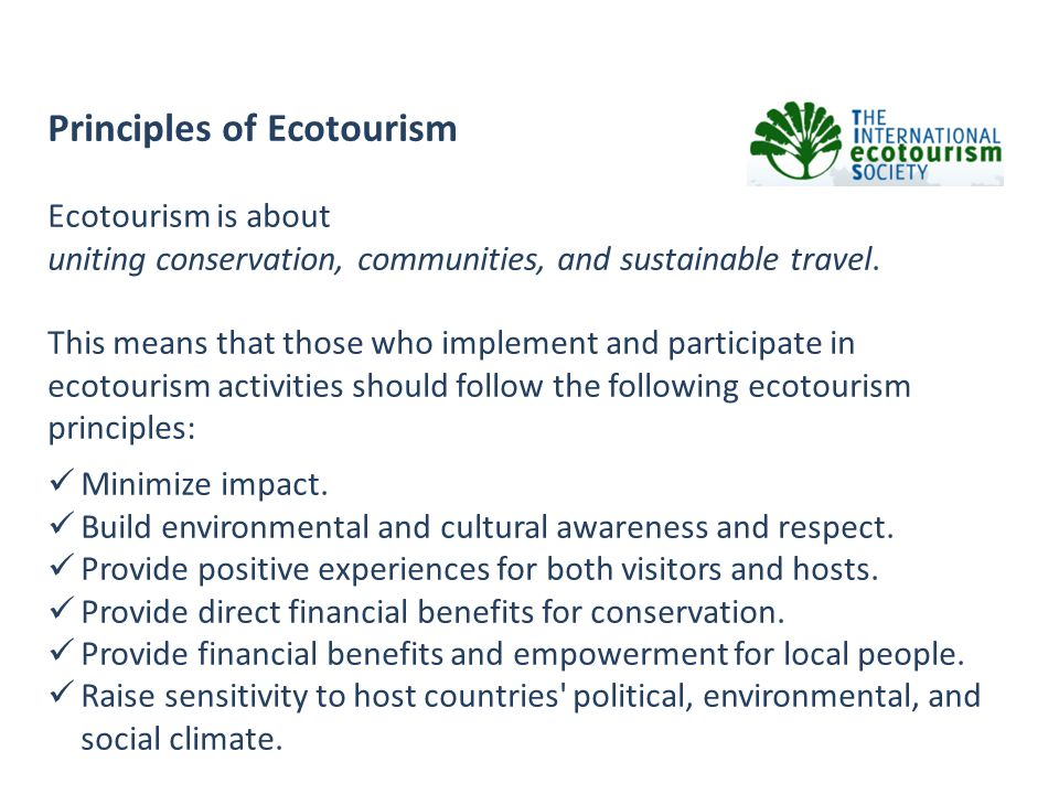 Principles of Ecotourism