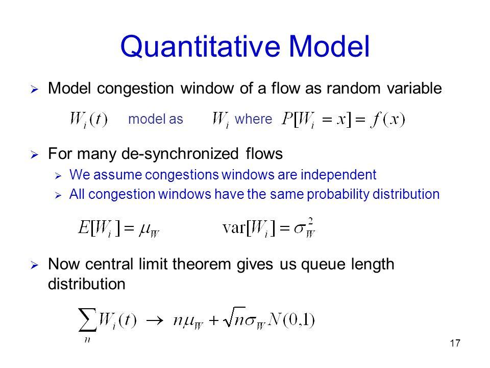 Quantitative Model Model congestion window of a flow as random variable. model as. where. For many de-synchronized flows.