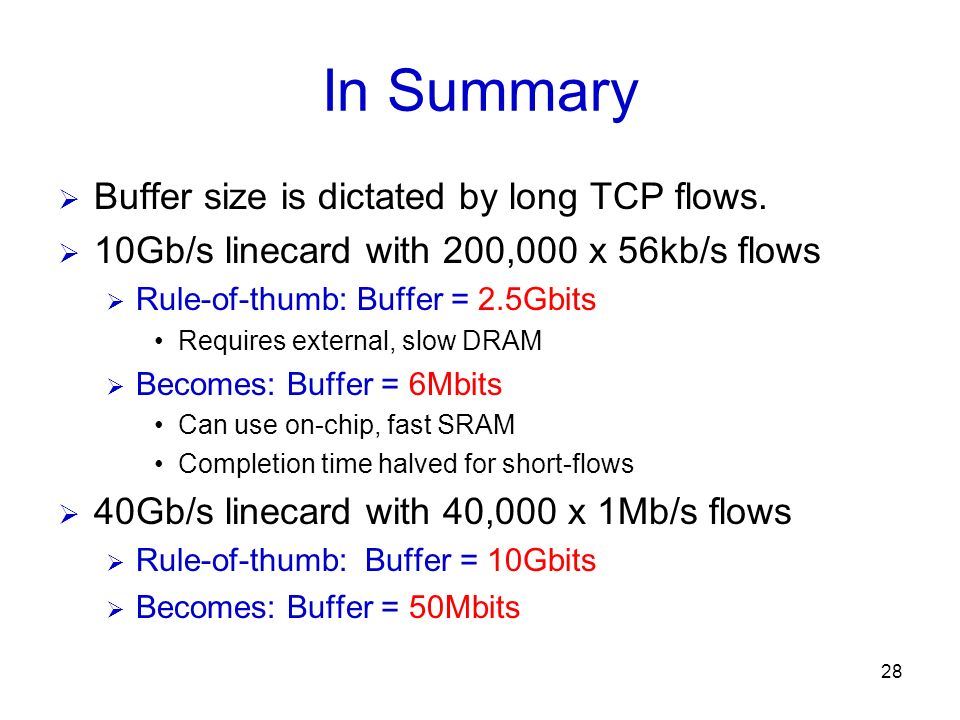 In Summary Buffer size is dictated by long TCP flows.