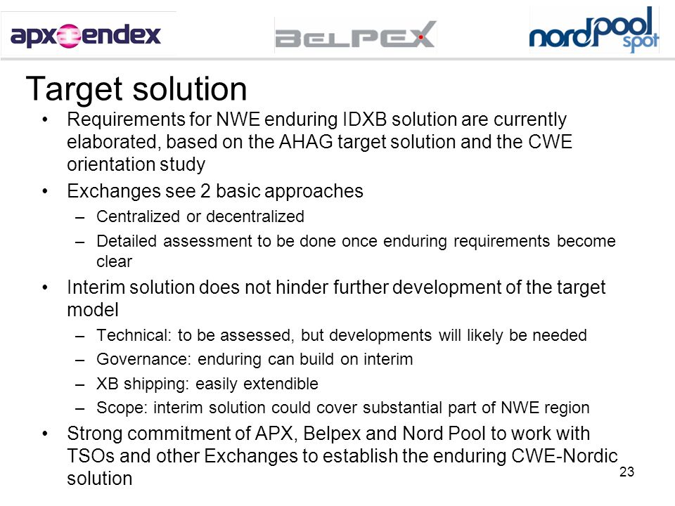 Target solution Requirements for NWE enduring IDXB solution are currently elaborated, based on the AHAG target solution and the CWE orientation study.